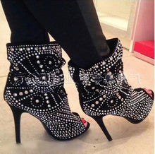 Load image into Gallery viewer, Studded Peep Toe Black Leather Ankle High Heels Boots - Thj Fashion Boutique