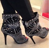 Studded Peep Toe Black Leather Ankle High Heels Boots - Thj Fashion Boutique