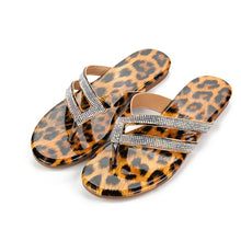 Load image into Gallery viewer, Rhinestone  leopard print  women slippers flip flops summer crystal bling slides
