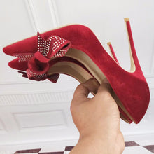Load image into Gallery viewer, Red high heels sexy red high heels  bow heels shoes