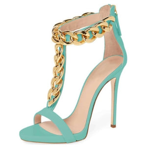 Beautiful golden chain decoration, about 12 cm high-heeled sandals, - Thj Fashion Boutique