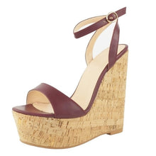 Load image into Gallery viewer, Beautiful  leather fabric, 15 cm wedges - Thj Fashion Boutique
