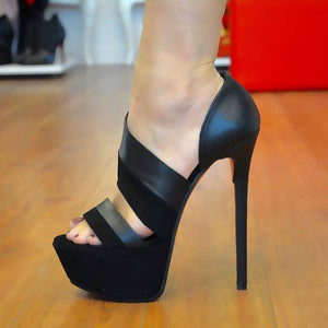 Sexy cashmere leather leather fabric  high heel sandals. - Thj Fashion Boutique