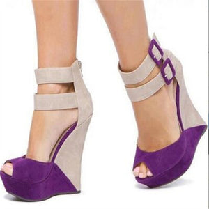 beautiful purple  Beige suede, zipper, double buckle, 14.5 cm wedge - Thj Fashion Boutique