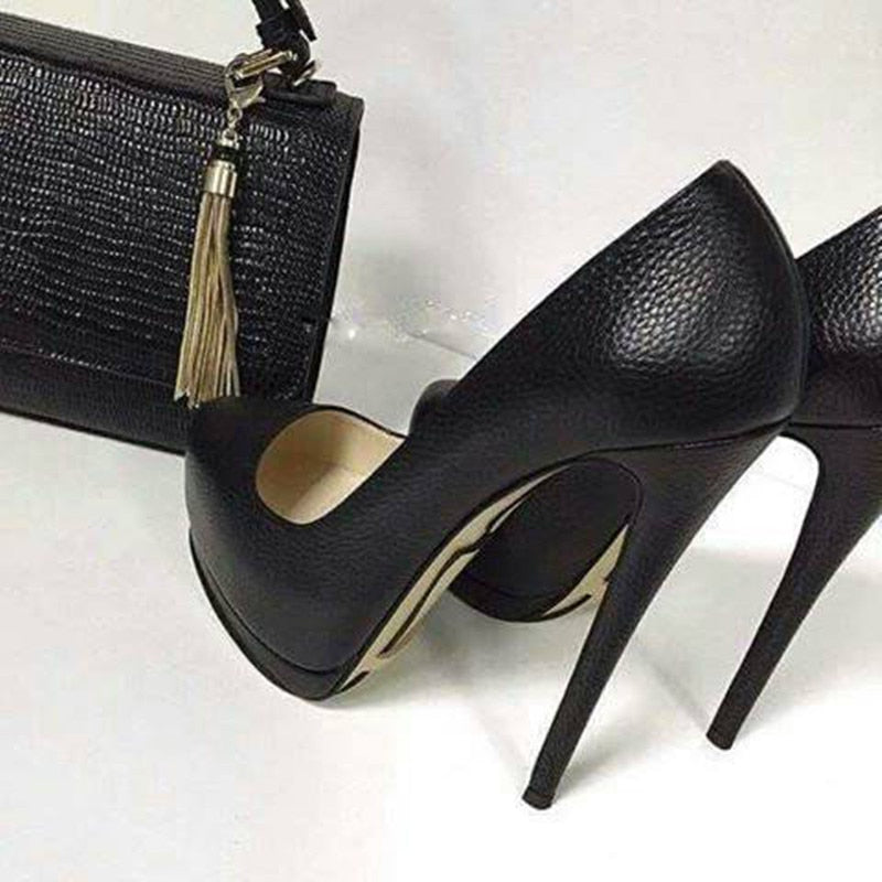Beautiful,  high black  high-heeled shoes - Thj Fashion Boutique