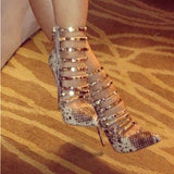 silver snake PU, gold trim, 11 cm high-heeled - Thj Fashion Boutique