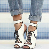 White on Black open toe lace up ankle strap heel - Thj Fashion Boutique