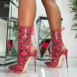 Women  Lace-Up Pointed Toe Stilettos Ankle Boots - Thj Fashion Boutique
