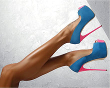 Load image into Gallery viewer, Sexy Blue Pink Peep Toe Platform  Stiletto Heels