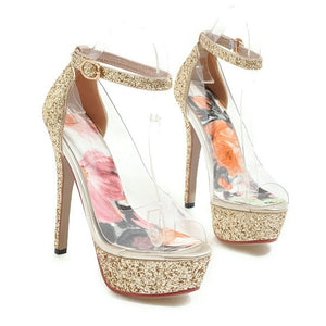 Sexy Clear Open Toe Platform High Heels Pumps Stilettos - Thj Fashion Boutique