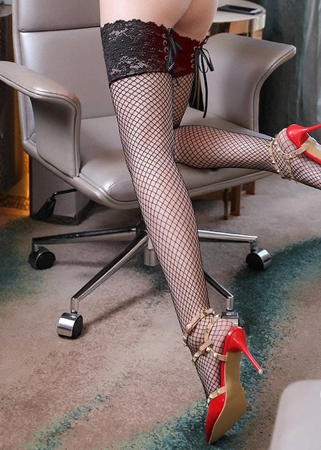 Fishnet Mesh Stockings for Women Thigh High Lace Top Detail Over Knee - Thj Fashion Boutique