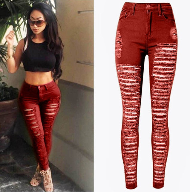 Women Ripped Denim Jeans Skinny High Waist Stretch Jeans