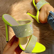 Load image into Gallery viewer, Elegant  Neon green rhinestone slippers