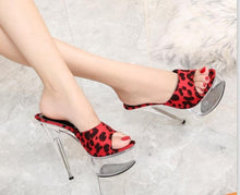 Load image into Gallery viewer, Platform Slippers Transparent Crystal Leopard  Waterproof High Heels