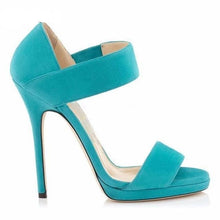 Load image into Gallery viewer, Single Belt Designer Open Toe Women Thin High Heel Shoes Ethnic Turquoise