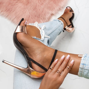 Women High Heeled Sandals Open Toe Buckle Strap Thin Heels Stiletto Sandals - Thj Fashion Boutique