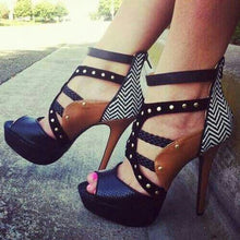 Load image into Gallery viewer, Sexy Snakeskin Platform  High Heel Sandals Gladiator Heels - Thj Fashion Boutique