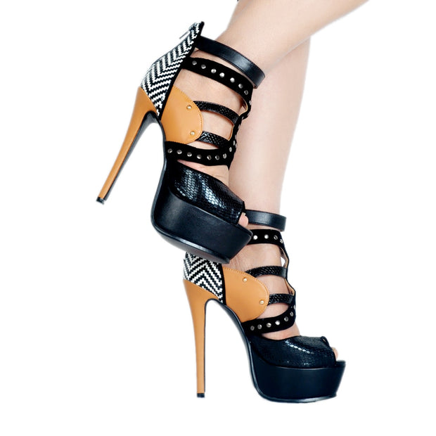 Sexy Snakeskin Platform  High Heel Sandals Gladiator Heels - Thj Fashion Boutique