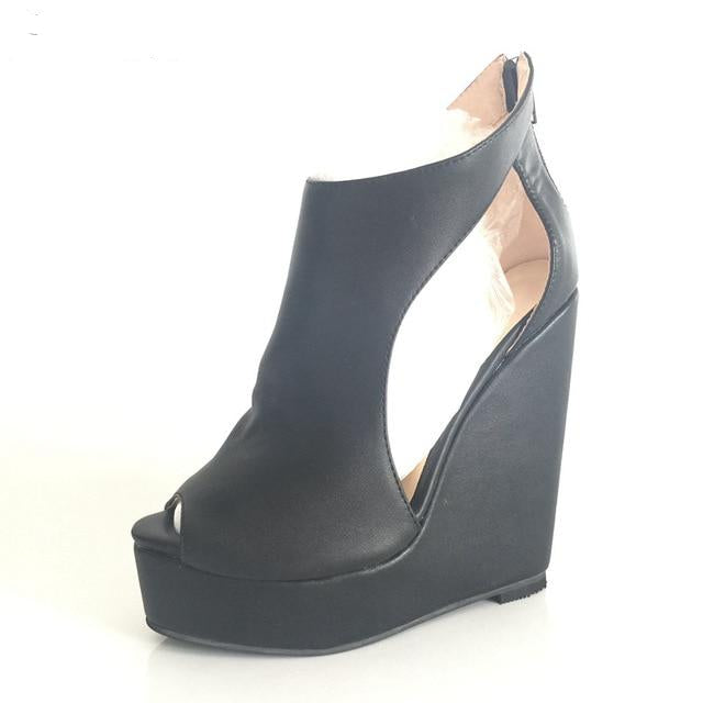 Black High Heels Comfortable Platform Zipper Open Toe Wedge - Thj Fashion Boutique