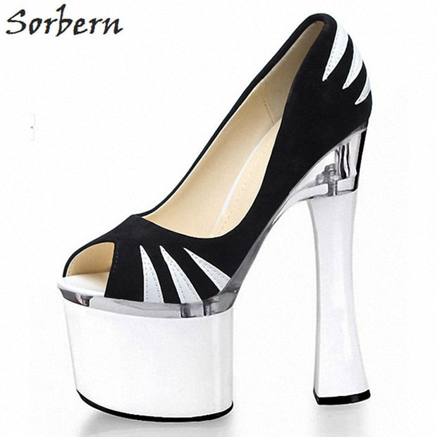 Fashion Peep Toe Slip On Women  High Heel Pumps