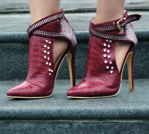 Wine Red/Black Studded Ankle Boots Pointed Toe High Heels Boots Women Stilettos - Thj Fashion Boutique