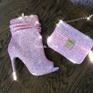 Spotlight Pink Glitter High Heel Ankle Sequined Boots Open Toe Side Zipper