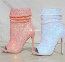 Load image into Gallery viewer, Spotlight Pink Glitter High Heel Ankle Sequined Boots Open Toe Side Zipper