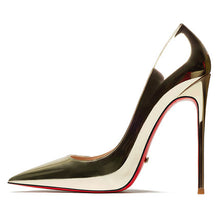 Load image into Gallery viewer, Spring Summer Women's Sexy Pumps 12cm High Heeled Bright Genuine Leather Shoes Wedding Red Bottom Heels Silver Lady Stiletto OL - Thj Fashion Boutique