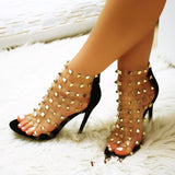 Studded  Open Toe Slip On  Woman Clear heels