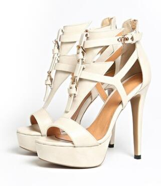 High Quality Leather platform peep toe gladiator  buckle t-strap 12cm stiletto heels
