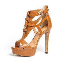 Load image into Gallery viewer, High Quality Leather platform peep toe gladiator  buckle t-strap 12cm stiletto heels