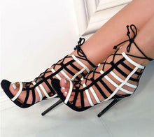 Load image into Gallery viewer, Black White  Patchwork Cuts Out Cross Lace Gladiator High Heel Sandals