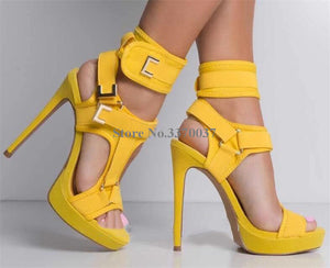 Open Toe Suede Leather Stiletto Heel Platform  Ankle Wrap Buckle Straps High Heel - Thj Fashion Boutique