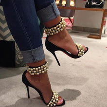 Load image into Gallery viewer, Summer Pearl Grainy Rivets Studs Strap Sandals Open Toe Jeweled Ankle Strap - Thj Fashion Boutique