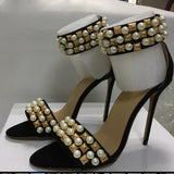 Summer Pearl Grainy Rivets Studs Strap Sandals Open Toe Jeweled Ankle Strap - Thj Fashion Boutique