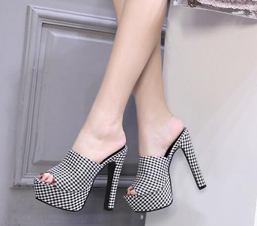 Comfortable Peep Toe Chunky Plaid Mules Peep Toe High Heel Slippers