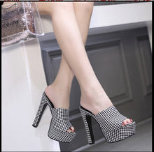 Load image into Gallery viewer, Comfortable Peep Toe Chunky Plaid Mules Peep Toe High Heel Slippers