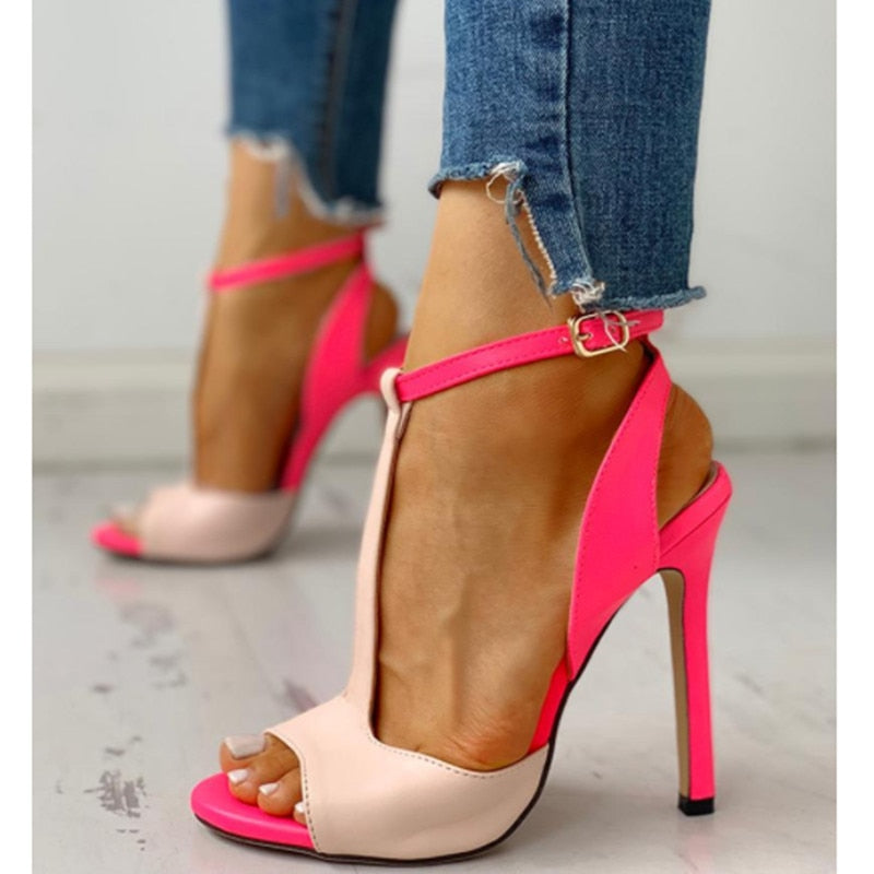 Stunning T-strap Ankle Buckle  Open Toe Leather Contrast Colors Shoes Woman Cutout stiletto High Heels