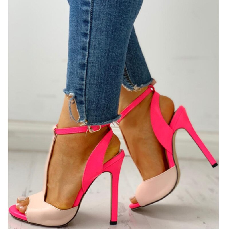 Stunning T-strap Ankle Buckle  Open Toe Leather Contrast Colors Cutout stiletto High Heels