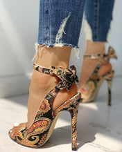 Load image into Gallery viewer, Thin High Heels Pumps  Fish Mouth Bow  Hollow Out Cross-tied Pumps - Thj Fashion Boutique