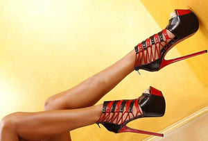 Soft Leather Women Red & Black Sexy High Heel Peep Toe Extreme High Heels