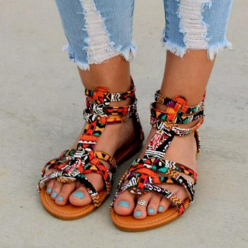 2019 Summer Bohemia Women Sandals T-strap Open Toe Flat Gladiator Sandals Vintage Print - Thj Fashion Boutique