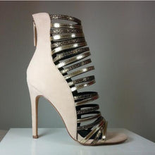 Load image into Gallery viewer, Top Quality Lady Open Toe Embellished Studs Hollow Out Ankle Heels - Thj Fashion Boutique