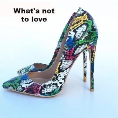 New Women Pumps Snake Pattern Mixed Color Ladies Sexy High Heel Pumps - Thj Fashion Boutique
