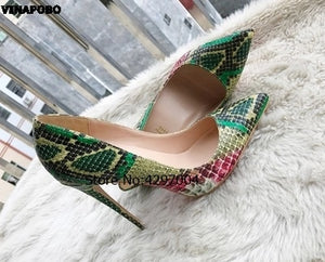 Sexy Women Pumps Green Snake Pattern Extreme high heels  Pointy Toe Dress Shoes