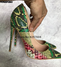 Load image into Gallery viewer, Sexy Women Pumps Green Snake Pattern Extreme high heels  Pointy Toe Dress Shoes