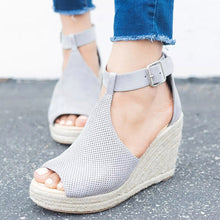 Load image into Gallery viewer, Wedge Sandals Summer  Platform  Peep Toe Sandals Casual Ankle Strap - Thj Fashion Boutique