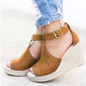 Wedge Sandals Summer  Platform  Peep Toe Sandals Casual Ankle Strap - Thj Fashion Boutique