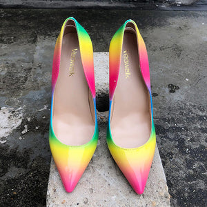 Rainbow Colorful Patent Leather Women Sexy Stiletto  High Heels, - Thj Fashion Boutique
