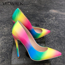 Load image into Gallery viewer, Rainbow Colorful Patent Leather Women Sexy Stiletto  High Heels, - Thj Fashion Boutique
